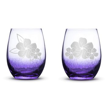 Set of 2, Plumeria Stemless Wine Glasses, Light Crackle Purple