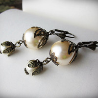 Pearl Earrings Vintage Inspired Dangle in Czech by BeatificBijoux
