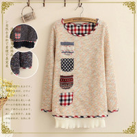 4-Pocket Long-Sleeve Ruffle Layer Knitted Sweater