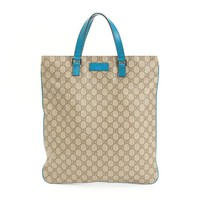 Louis Vuitton Leather Tote Bag GG Pattern Blue Authentic women Handbag