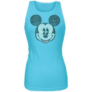LMFGQ9 Mickey Mouse - Bling Face Juniors Tank Top