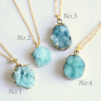 Gold Coated Sky Blue Mini Agate Slice Raw Necklaces - Natural Stone Gemstone Pendant Rough Druzy Crystal Colourful unique, rustic