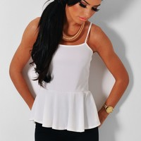 La Fraise White Ribbed Peplum Top | Pink Boutique