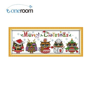 Oneroom Christmas Owls Counted Cross Stitch Cartoon Cross Stitch 11CT 14CT Cross-Stitch Kit Handmade Embroidery Needlework