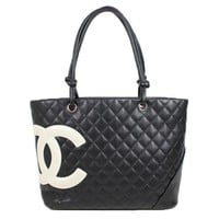 Auth CHANEL Cambon line Large Tote Women Cambon line tote bag