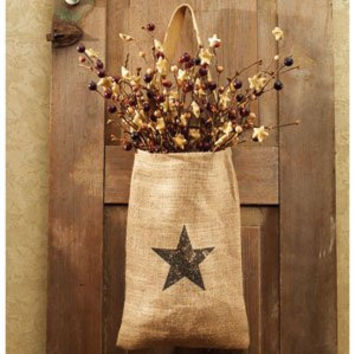 Vintage Hanging Burlap Bag - Vintage Star (8-in x 12-in)