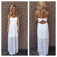 Off-White Doylee Lace Maxi Strapless Dress