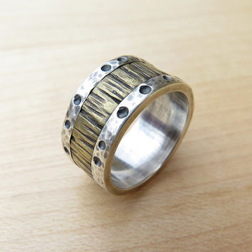Handcrafted Sterling Silver and Brass Ring,Special Gift, Unisex Jewelry,Wide Rustic Ring Wood Texture