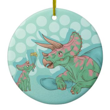 Triceratops Giving Flowers Ceramic Ornament