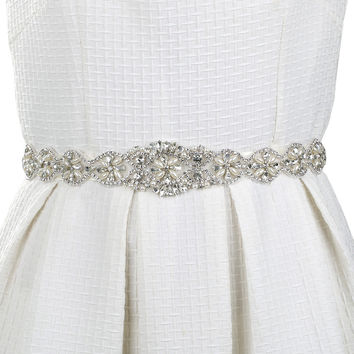 Ivory Crystal Bridal Sash Belt and Crystal Beaded Applique Women Cummerbunds Wedding Clothing Accessories Sash Belt