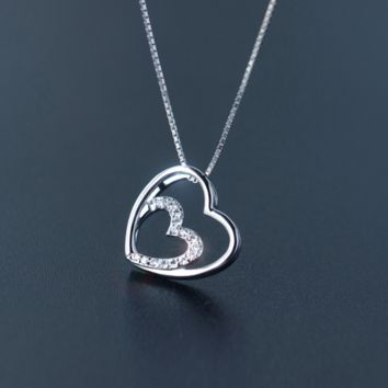 Lovely DOUBLE HEART 925 Sterling Silver Necklace, a perfect gift