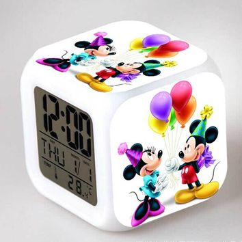 Minnie e Mickey Mouse Action Figures Alarm CLock LED Colorful Touch Light Anime Figurines Kids Toy for girls