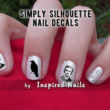 Poe and The Raven Nail Decals Black and Clear by InspiredNails