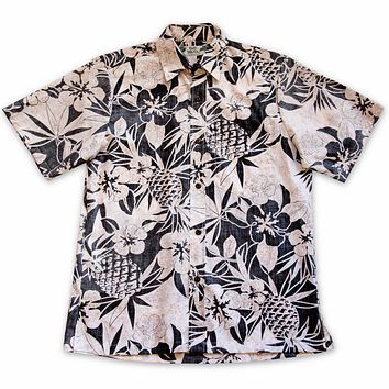 sweet pineapple black reverse print hawaiian cotton shirt