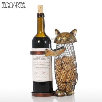 Tooarts Cat Red Wine Rack Cork Container Bottle Holder Kitchen Bar Display Metal Wine Craft Gift Handcraft Animal Wine Stand
