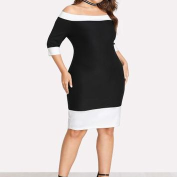 Contrast Trim Bardot Plus Size Dress