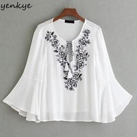 Floral Embroidery White Blouse Shirt Women O Neck Butterfly Sleeve Loose Autumn Blouses Casual Tops