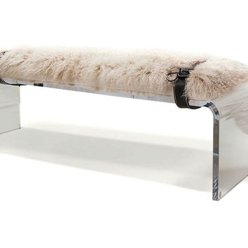 "All Curves 56"" Bench, Beige/Clear, Acrylic / Lucite, Bedroom Bench"