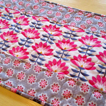 Gray And Pink Table Runner , Modern Gray Table Runner