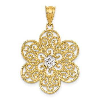 14k Yellow Gold & Rhodium Diamond-cut Concave Filigree Flower Pendant
