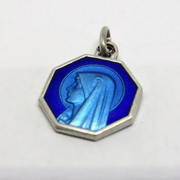 Vintage French, Blue Enamel And Silver, Lourdes, Pendant, Medal.