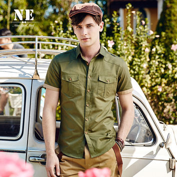 Summer Men's Fashion With Pocket Decoration Short Sleeve Shirt [7951208323]