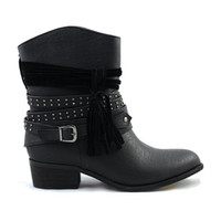 Black Jessie Boot With Studded Straps