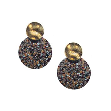 Dot Painted Layered Disk Earrings   2 Colors