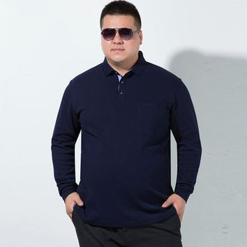 plus size 8XL 7XL Polo Men Shirt Mens Long Sleeve Solid Shirts Camisa Polos Masculina Casual cotton Striped Brand New Tops Tees