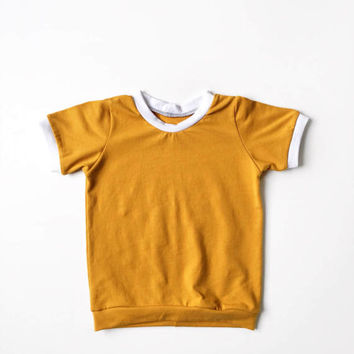 Unisex Baby Mustard Retro Ringer Tee, Toddler Mustard Yellow T-Shirt, Boy or girl Baby Vintage Shirt, Handmade Shirt, Trendy Baby Clothes