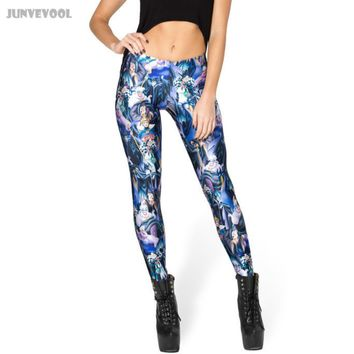 Goth Pants Printed Leggings Women's Fitness Capris Stretch Vintage Legging Pants Colorful Slim Trousers