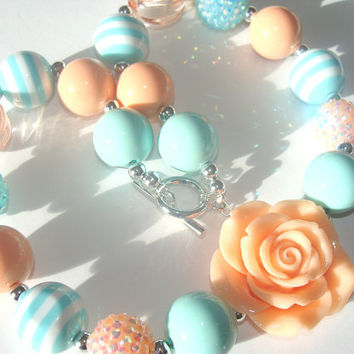 Mint And Peach Chunky Necklace Toddler to Girl Peach Flower Focal Mint And Peach Rhinestone Beads