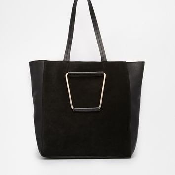 ASOS Leather & Suede Shopper Bag with Metal Handles