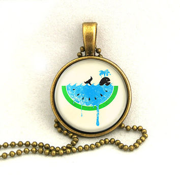 10% SALE Necklace Whale Swim in Blue Watermelon Pendant Necklaces Gift