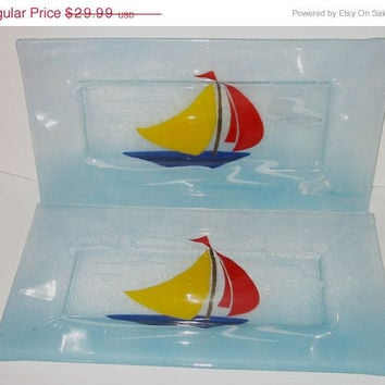20% OFF SUMMER SALE Two Glass Plates Trays with Nautical Sail Boat Motif
