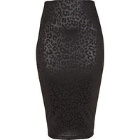black animal coated midi pencil skirt