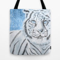 Ethereal White Tiger Tote Bag by Susaleena