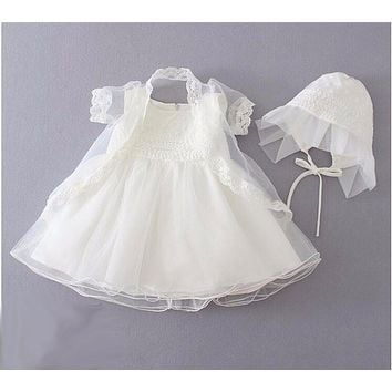 Newborn Christening Gown Party Wedding Dress with Bonnet and Cape Elegant Baptism Dresses for Flower girl baby birthday 3PCS/Set