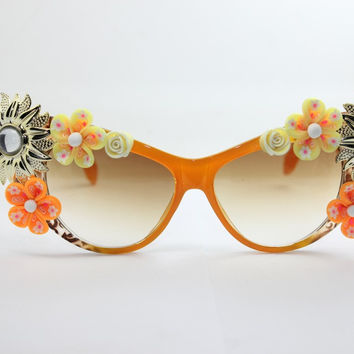 Women's Cute Lovely Summer Style Hot Fashion Fimo Flower Sunglasses = 4672225028