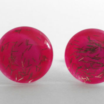 Sparkly Pink with Gold Confetti Glitter Round Glass Cabochon Stud Earrings