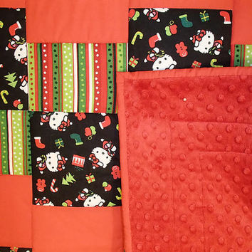 Hello Kitty, Christmas, Red, Christmas Stripes, Red Minky, Machine Quilted Handmade Quilt