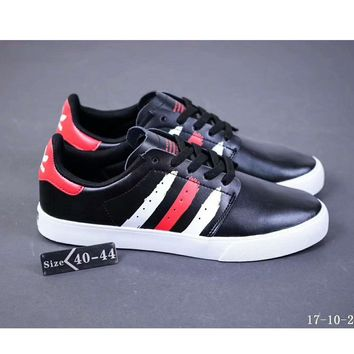 Adidas Seeley Court full leather autumn and winter board shoes F-SSRS-CJZX Black and white and red