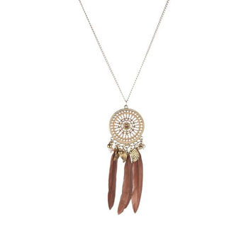 Bohemian Jewelry Embedded with Crystal Disc Pendant with Multi Charms and Brown Peacock Feathers Necklace for Women