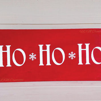 Christmas Painted Wood Sign - Santa Clause Sign- Ho Ho Ho - Christmas Decor - Christmas sign