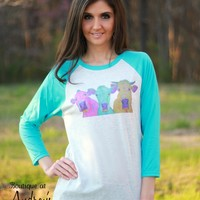 Luckybird Clothing Bright Aqua Sleeve Raglan Shirt with Cow Art