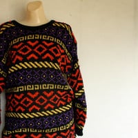 1980's crazy novelty fuzzy sweater dress one size