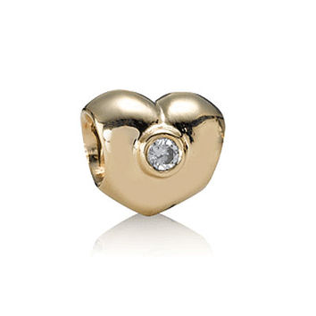PANDORA Gold Heart with Diamond Charm