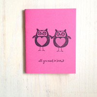 Medium Notebook: Cute, Owls, Pink, Owl, Love, Wedding, Valentine's Day, Romantic, Journal, Kids, For Her, For Him, Gift, Notebook VV43/100x2