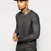 ASOS Longline Long Sleeve T-Shirt In Rib Fabric And Oil Wash