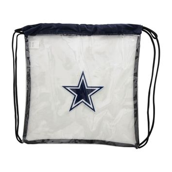 Dallas Cowboys Clear Plastic Drawstring Backpack NFL Stadium Approved